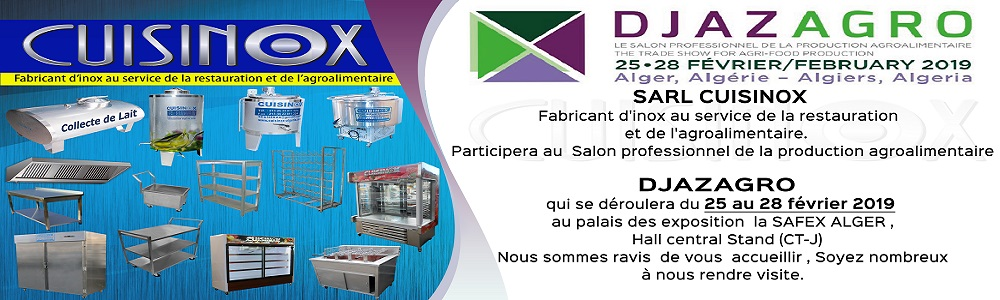 SARL CUISINOX participe au salon Professionnel de la Production Agroalimentaire DJAZAGRO